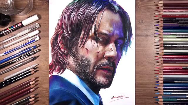 彩铅画肖像-John Wick
