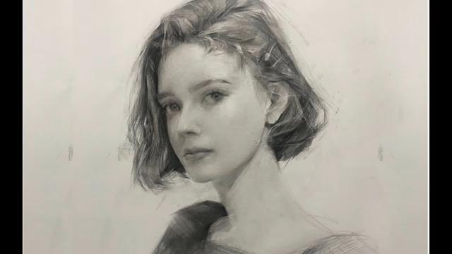 女孩肖像画-石墨笔