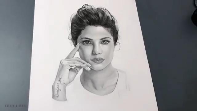 铅笔画 Priyanka Chopra Jonas