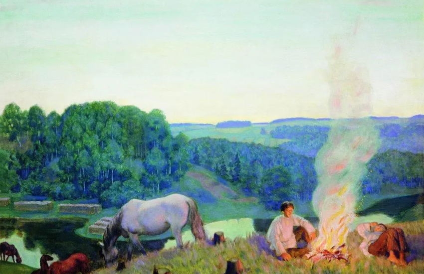 Fireplace (Night) | Boris Kustodiev