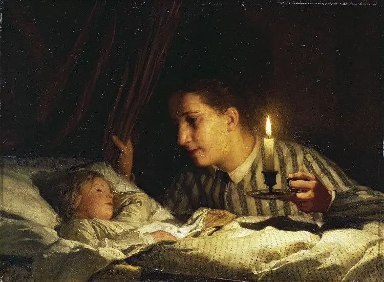 young mother contemplating her sleeping child in candlelight